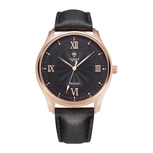 YAZOLE 426 reloj de cuero reloj de cuarzo romano escala diario impermeable simple reloj de pulsera