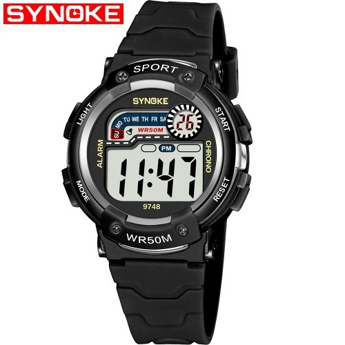 SYNOKE 9748 Child Watch Sport Watch Luminous Alarm Digital Waterproof Wrist Watch kid Watch