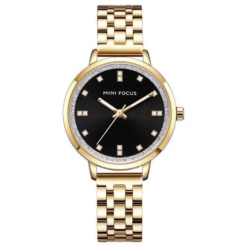 MINI FOCUS MF0047L Reloj de mujer Reloj de cuarzo Correa de acero inoxidable Reloj de pulsera simple Pantalla de moda Casual 3ATM Manos luminosas impermeables Relojes femeninos