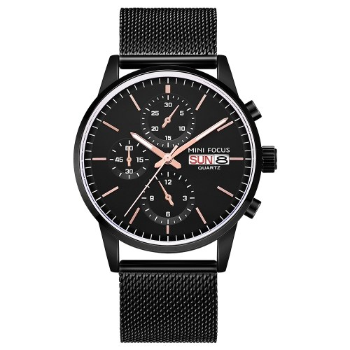 MINI FOCUS MF0180G Reloj de hombre Reloj de cuarzo Correa de acero inoxidable Reloj de pulsera simple Hora Calendario Casual 3ATM Manos luminosas impermeables Relojes masculinos