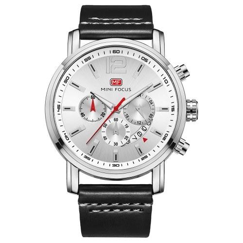 MINI FOCUS MF0086Gメンズウォッチクォーツレザーストラップシンプルな腕時計のタイムディスプレイカレンダーファッションカジュアル3ATM防水ルミナスハンズウォッチ