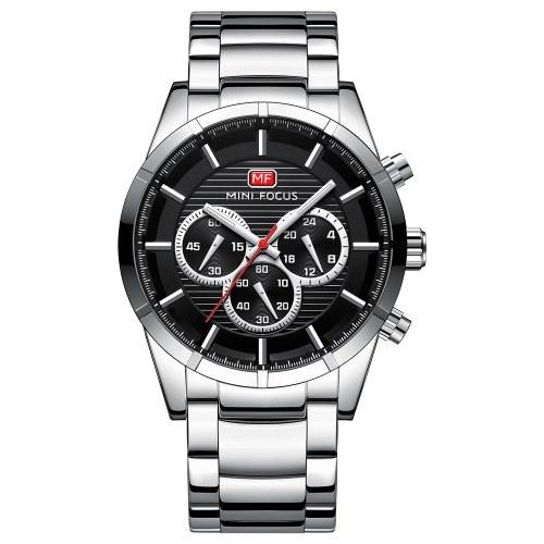 MINI FOCUS MF0170Gメンズウォッチクォーツステンレススチールストラップシンプルな腕時計の時間表示ファッションカジュアル3ATM防水光る手男性の時計