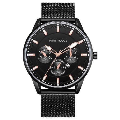 MINI FOCUS MF0178Gメンズウォッチクォーツステンレススチールストラップシンプルな腕時計の時間表示ファッションカジュアル3ATM防水光る手男性の時計