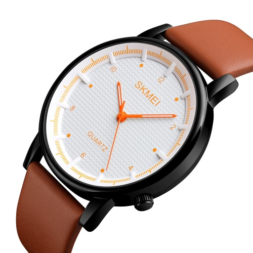 SKMEI 3ATM Water-resistant Fashion Casual Watch Men Quartz Watch Genuine Leather Wristwatch MaleApparel &amp; Jewelry<br>SKMEI 3ATM Water-resistant Fashion Casual Watch Men Quartz Watch Genuine Leather Wristwatch Male<br>