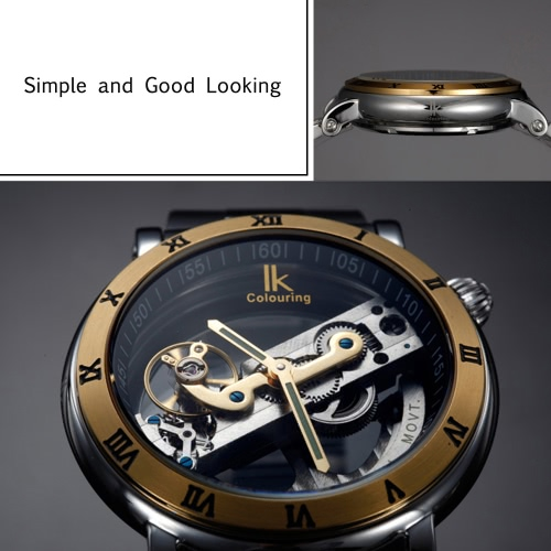 IK COLOURING Automatic Mechanical Watch Skeleton Transparent Hollowed-out Wristwatch 5ATM Water ResistantApparel &amp; Jewelry<br>IK COLOURING Automatic Mechanical Watch Skeleton Transparent Hollowed-out Wristwatch 5ATM Water Resistant<br>