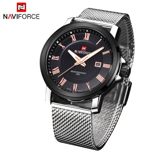 NAVIFORCE Casual Men Wristwatch Water Resistant Mens Quartz Watch Stainless Steel Strap with Calendar Luminous PointersApparel &amp; Jewelry<br>NAVIFORCE Casual Men Wristwatch Water Resistant Mens Quartz Watch Stainless Steel Strap with Calendar Luminous Pointers<br>