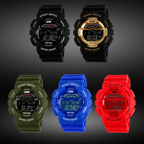 SKMEI 5ATM Water Resistant Men Digital Wristwatch Outdoor Sports Military Watch with Calendar Alarm Backlight Week StopwatchApparel &amp; Jewelry<br>SKMEI 5ATM Water Resistant Men Digital Wristwatch Outdoor Sports Military Watch with Calendar Alarm Backlight Week Stopwatch<br>