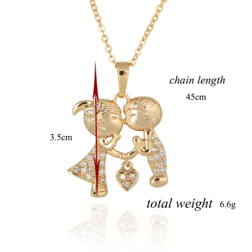 Simple Fashion Cute Zircon Rhinestone Crystal Heart Couple Lovers Pendant Necklace Clavicle Chain Jewelry for Girl Woman Party EngApparel &amp; Jewelry<br>Simple Fashion Cute Zircon Rhinestone Crystal Heart Couple Lovers Pendant Necklace Clavicle Chain Jewelry for Girl Woman Party Eng<br>