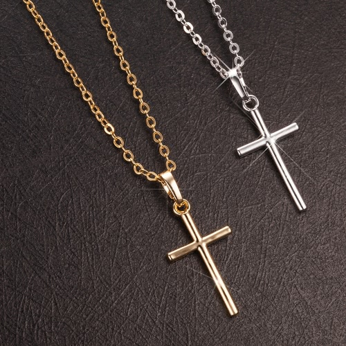 Fashion Charm Copper Gold Plated Cross Pendant Necklace Chain Jewelry for Men Women Unisex Girls Gift Party WeddingApparel &amp; Jewelry<br>Fashion Charm Copper Gold Plated Cross Pendant Necklace Chain Jewelry for Men Women Unisex Girls Gift Party Wedding<br>