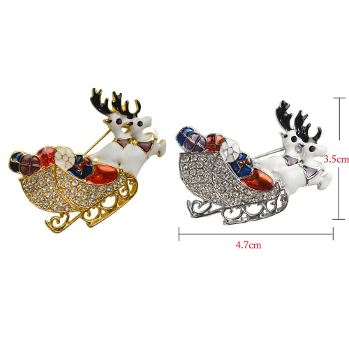 New Fashion Shining Rhinestone Crystal Double Deers Animal Brooch Collar Clip Pin Clothes Accessory Jewelry Scarf Buckle for HolidApparel &amp; Jewelry<br>New Fashion Shining Rhinestone Crystal Double Deers Animal Brooch Collar Clip Pin Clothes Accessory Jewelry Scarf Buckle for Holid<br>