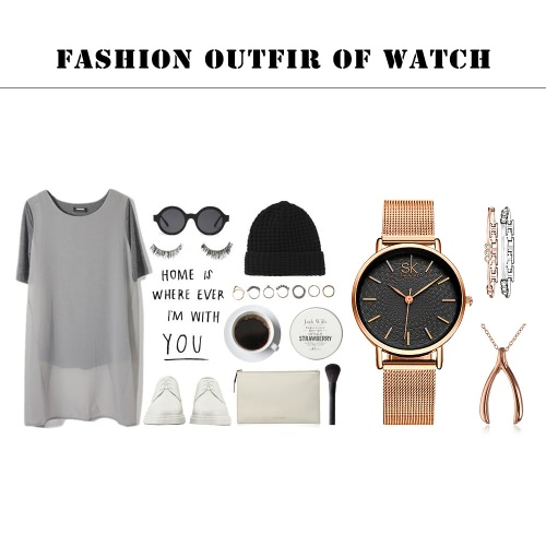 SK 2017 Brand Luxury Mesh Stainless Steel/ PU Strap Quartz Women Casual Watches 30M Water-Proof Ladies Business Wristwatch FeminioApparel &amp; Jewelry<br>SK 2017 Brand Luxury Mesh Stainless Steel/ PU Strap Quartz Women Casual Watches 30M Water-Proof Ladies Business Wristwatch Feminio<br>
