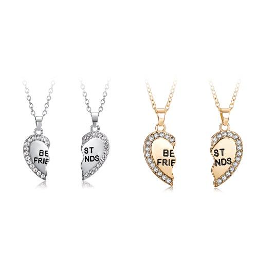 2 Pcs Korean Fashion Jewelry Split Diamond Heart Pendant Necklace Bestie Heart Chain Beautiful NecklaceApparel &amp; Jewelry<br>2 Pcs Korean Fashion Jewelry Split Diamond Heart Pendant Necklace Bestie Heart Chain Beautiful Necklace<br>