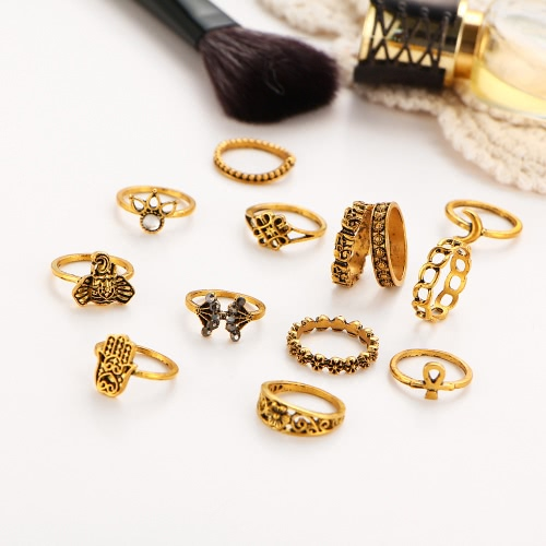 13Pcs Retro Bohemian Lady Suit Ring Elephant Diamond Carving Ring Women Jewelry Holiday GiftApparel &amp; Jewelry<br>13Pcs Retro Bohemian Lady Suit Ring Elephant Diamond Carving Ring Women Jewelry Holiday Gift<br>