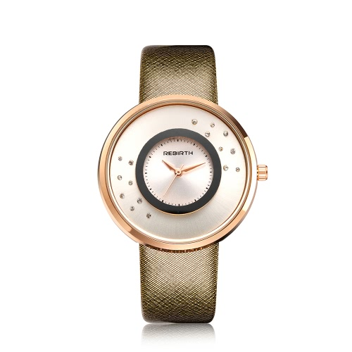 REBIRTH Brand Luxury Diamond Quartz Women Watches Water-Proof PU Leather Ladies Casual Wristwatch Good GiftApparel &amp; Jewelry<br>REBIRTH Brand Luxury Diamond Quartz Women Watches Water-Proof PU Leather Ladies Casual Wristwatch Good Gift<br>