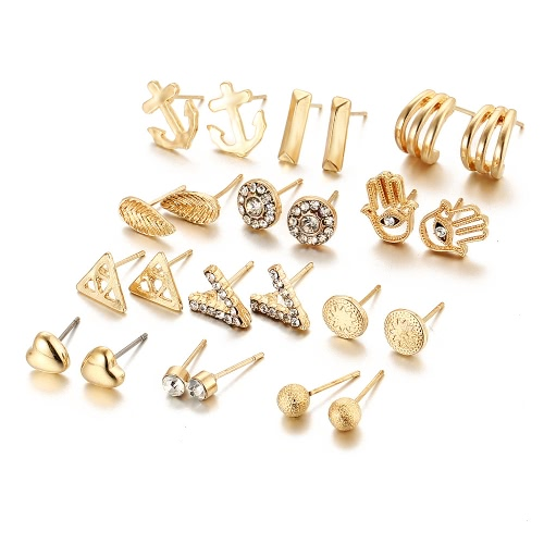 Fashion Jewelry Crystal Diamond Love V Frosted Ball Various Types 12 Pairs of Earrings SuitApparel &amp; Jewelry<br>Fashion Jewelry Crystal Diamond Love V Frosted Ball Various Types 12 Pairs of Earrings Suit<br>