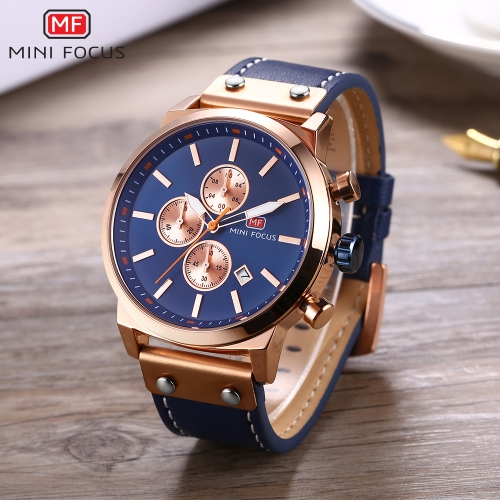 MINI FOCUS Fashion Genuine Leather Men Watches Quartz 3ATM Water-resistant Luminous Casual Man Wristwatch CalendarApparel &amp; Jewelry<br>MINI FOCUS Fashion Genuine Leather Men Watches Quartz 3ATM Water-resistant Luminous Casual Man Wristwatch Calendar<br>