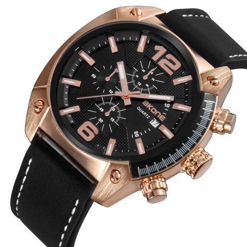 Skone Casual Sport Men Watches Quartz Male Watch 3ATM Water-resistant Luminous Wristwatch Calendar Time Display