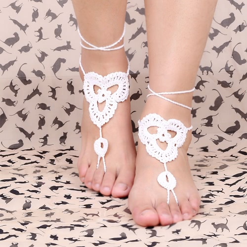 Cotton Thread Crochet Foot Chain Bracelet Anklet Patterns Beach Barefoot Sandal WhiteApparel &amp; Jewelry<br>Cotton Thread Crochet Foot Chain Bracelet Anklet Patterns Beach Barefoot Sandal White<br>