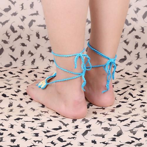 Cotton Thread Crochet Foot Chain Bracelet Anklet Colorful Flower Beach Barefoot Sandal 1#Apparel &amp; Jewelry<br>Cotton Thread Crochet Foot Chain Bracelet Anklet Colorful Flower Beach Barefoot Sandal 1#<br>