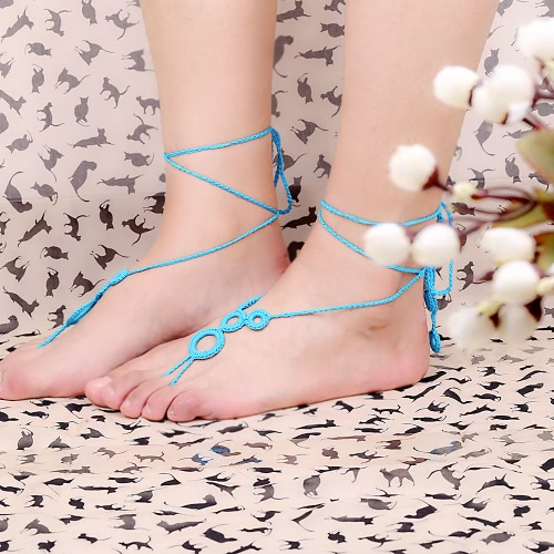 Blue Cotton Thread Crochet Foot Chain Bracelet Anklet Lovely Circles Beach Barefoot SandalApparel &amp; Jewelry<br>Blue Cotton Thread Crochet Foot Chain Bracelet Anklet Lovely Circles Beach Barefoot Sandal<br>