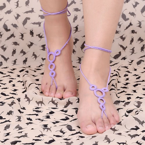 Cotton Thread Crochet Foot Chain Bracelet Anklet Beach Barefoot Sandal with Decorative Circles BlueApparel &amp; Jewelry<br>Cotton Thread Crochet Foot Chain Bracelet Anklet Beach Barefoot Sandal with Decorative Circles Blue<br>