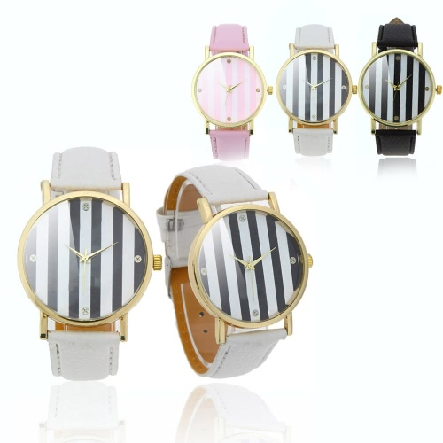 Stylish Ladies Quartz Wrist Watch Strips in 2 Colors Design PinkApparel &amp; Jewelry<br>Stylish Ladies Quartz Wrist Watch Strips in 2 Colors Design Pink<br>