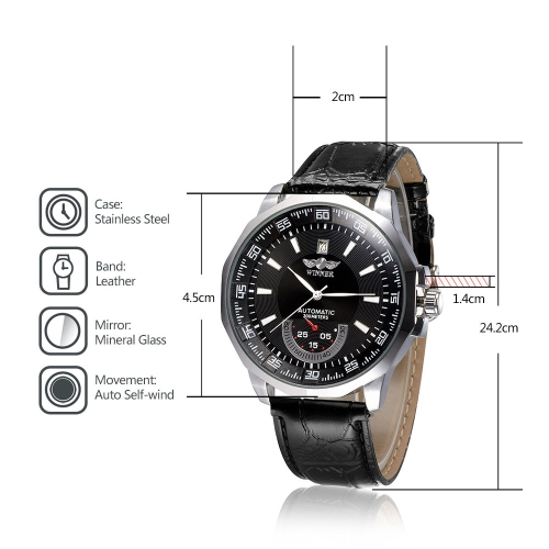 WINNER Big Fashion Self-winding Mechanical Watch Leather Strap Business Wristwatch with Calendar and Sub-dialApparel &amp; Jewelry<br>WINNER Big Fashion Self-winding Mechanical Watch Leather Strap Business Wristwatch with Calendar and Sub-dial<br>