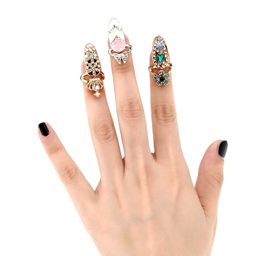 1pc Fashion Nail Jewelry Bowknot Crown Crystal Finger Nail Art Ring Beauty Nail Art CharmsApparel &amp; Jewelry<br>1pc Fashion Nail Jewelry Bowknot Crown Crystal Finger Nail Art Ring Beauty Nail Art Charms<br>