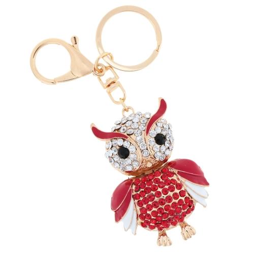 Fashional Jewelry Hollow Alloy Vintage Shinning Rhinestone Owl Pendant Key Ring Key Chain