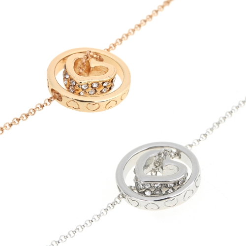Woman Girl Retro Vintage Rhinestone Crystal Double Pendant Circle Heart Necklace Chain JewelryApparel &amp; Jewelry<br>Woman Girl Retro Vintage Rhinestone Crystal Double Pendant Circle Heart Necklace Chain Jewelry<br>