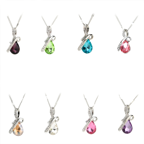 Woman Girl Fashion Romantic Luxurious Angel Tear Water Drop Pendant Rhinestone Crystal Necklace Chain JewelryApparel &amp; Jewelry<br>Woman Girl Fashion Romantic Luxurious Angel Tear Water Drop Pendant Rhinestone Crystal Necklace Chain Jewelry<br>