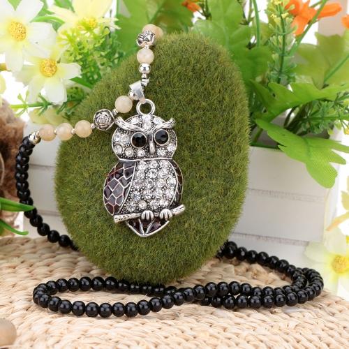 Fashion Vintage Retro Silver Rhinestone Owl Pendant Bead Sweater Chain Necklace Metal Alloy Bird Jewelry for Woman GirlApparel &amp; Jewelry<br>Fashion Vintage Retro Silver Rhinestone Owl Pendant Bead Sweater Chain Necklace Metal Alloy Bird Jewelry for Woman Girl<br>