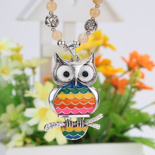 Fashion Vintage Retro Nail Polish Rainbow Multi Color Owl Pendant Necklace Bead Sweater Chain Metal Alloy Bird Jewelry for Woman GApparel &amp; Jewelry<br>Fashion Vintage Retro Nail Polish Rainbow Multi Color Owl Pendant Necklace Bead Sweater Chain Metal Alloy Bird Jewelry for Woman G<br>