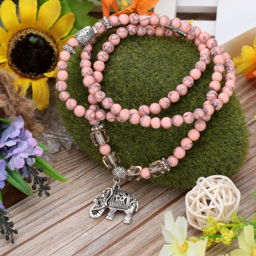 Fashion Romantic Hollow Carved Elephant Pendant Pink Turquoise Beads Bracelet Jewelry for Woman GirlApparel &amp; Jewelry<br>Fashion Romantic Hollow Carved Elephant Pendant Pink Turquoise Beads Bracelet Jewelry for Woman Girl<br>