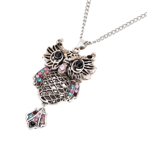 Fashion Vintage Retro Colorful Crystal Rhinestone Hollow Owl Pendant Necklace Sweater Chain Metal Alloy Bird Jewelry for Woman Girl