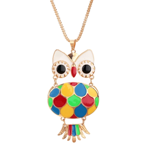 Fashion Vintage Retro Colorful Enamel Owl Pendant Necklace Costume Sweater Chain Metal Alloy Bird Animal Jewelry for Woman GirlApparel &amp; Jewelry<br>Fashion Vintage Retro Colorful Enamel Owl Pendant Necklace Costume Sweater Chain Metal Alloy Bird Animal Jewelry for Woman Girl<br>