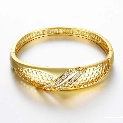 Brass Bangle Bracelet Embedded with AAA Zircon with An Opening &amp; Hexagon Nets Golden &amp; Rose Golden Fashional Accessories for WomenApparel &amp; Jewelry<br>Brass Bangle Bracelet Embedded with AAA Zircon with An Opening &amp; Hexagon Nets Golden &amp; Rose Golden Fashional Accessories for Women<br>