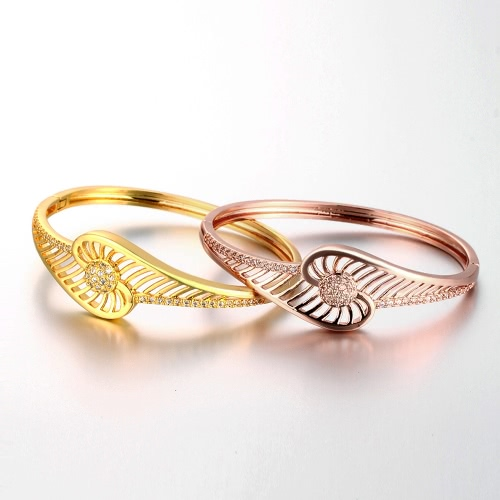 Brass Bangle Bracelet Embedded with AAA Zircon with An Opening &amp; Hollow Lines Golden &amp; Rose Golden Fashional Accessories for WomenApparel &amp; Jewelry<br>Brass Bangle Bracelet Embedded with AAA Zircon with An Opening &amp; Hollow Lines Golden &amp; Rose Golden Fashional Accessories for Women<br>