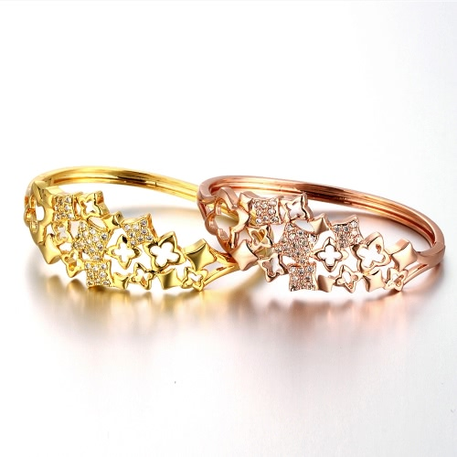 Brass Bangle Bracelet Embedded with AAA Zircon Hollow Four-leaf Clover with An Opening Golden &amp; Rose Golden Fashional AccessoriesApparel &amp; Jewelry<br>Brass Bangle Bracelet Embedded with AAA Zircon Hollow Four-leaf Clover with An Opening Golden &amp; Rose Golden Fashional Accessories<br>