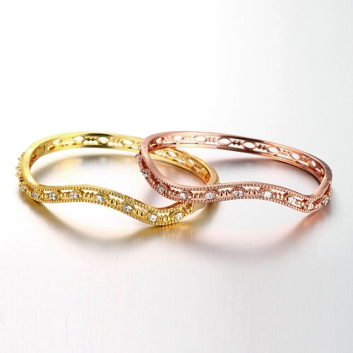 Waved Hollow Brass Bangle Bracelet Embedded with AAA Zircon with An Opening Golden &amp; Rose Golden Fashional Accessories for WomenApparel &amp; Jewelry<br>Waved Hollow Brass Bangle Bracelet Embedded with AAA Zircon with An Opening Golden &amp; Rose Golden Fashional Accessories for Women<br>