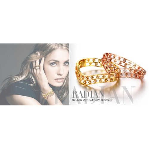 Waved Hollow Brass Bangle Bracelet with AAA Zircon Embedded in Four-leaf Clovers with An Opening Golden &amp; Rose Golden Fashional AcApparel &amp; Jewelry<br>Waved Hollow Brass Bangle Bracelet with AAA Zircon Embedded in Four-leaf Clovers with An Opening Golden &amp; Rose Golden Fashional Ac<br>