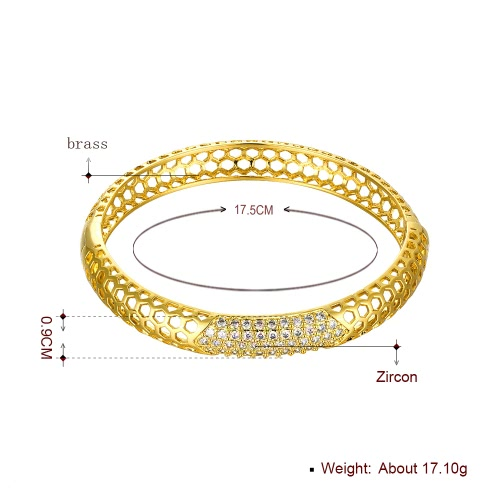 Hollow Hexagons Brass Bangle Bracelet Embedded with AAA Zircon with An Opening Golden &amp; Rose Golden Fashional Accessories for WomeApparel &amp; Jewelry<br>Hollow Hexagons Brass Bangle Bracelet Embedded with AAA Zircon with An Opening Golden &amp; Rose Golden Fashional Accessories for Wome<br>