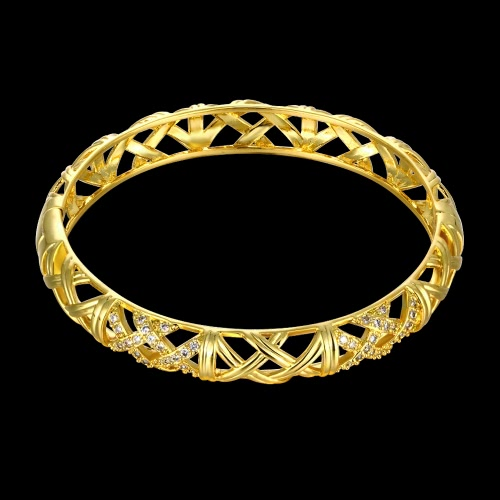 Hollow Nets Brass Bangle Bracelet Embedded with AAA Zircon with An Opening Golden &amp; Rose Golden Fashional Accessories for WomenApparel &amp; Jewelry<br>Hollow Nets Brass Bangle Bracelet Embedded with AAA Zircon with An Opening Golden &amp; Rose Golden Fashional Accessories for Women<br>