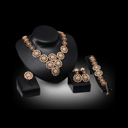 Exaggerated Golden Jewelry Set Hollow Pattern Pendant Zinc Alloy Chain Necklace Bracelet Earrings Ring Fashional Wedding Party CosApparel &amp; Jewelry<br>Exaggerated Golden Jewelry Set Hollow Pattern Pendant Zinc Alloy Chain Necklace Bracelet Earrings Ring Fashional Wedding Party Cos<br>