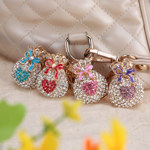 Fashion Crystal Rhinestone Hollow Lucky Gift Bag Heart Key RingApparel &amp; Jewelry<br>Fashion Crystal Rhinestone Hollow Lucky Gift Bag Heart Key Ring<br>