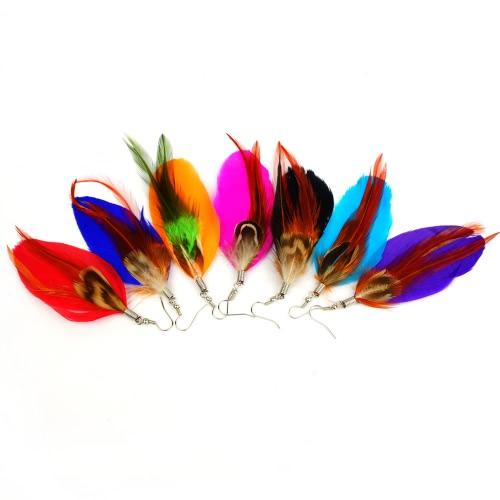 Women New Fashion Long Colorful Feather Cute Chandelier Dangle Earring Eardrop Jewelry Accessory GiftApparel &amp; Jewelry<br>Women New Fashion Long Colorful Feather Cute Chandelier Dangle Earring Eardrop Jewelry Accessory Gift<br>