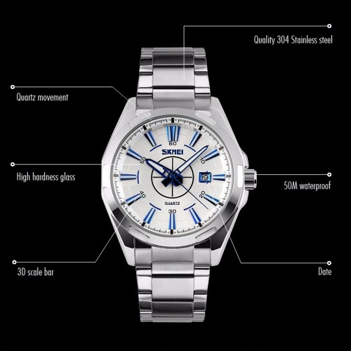 SKMEI 2016 Brand New Luxury Business Watch For Men Analog Steel Silver Watches Fashion Casual WristwatchesApparel &amp; Jewelry<br>SKMEI 2016 Brand New Luxury Business Watch For Men Analog Steel Silver Watches Fashion Casual Wristwatches<br>