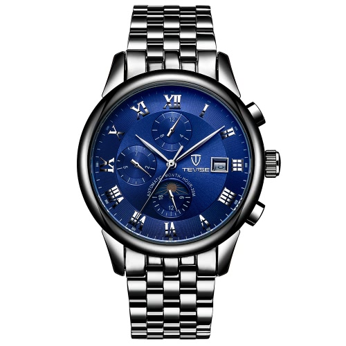 TEVISE Luxury Moon Phase Luminous Water-Resistant Automatic Man Mechanical Watch Stainless Steel Self-Winding Men Business WristwaApparel &amp; Jewelry<br>TEVISE Luxury Moon Phase Luminous Water-Resistant Automatic Man Mechanical Watch Stainless Steel Self-Winding Men Business Wristwa<br>