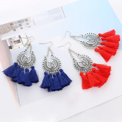 Fashion Bohemian Earrings Women Circle Long Tassel Fringe Dangle Earrings Jewelry Accessory