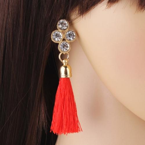 Women Fashion Rhinestones Wool Rope Tassels Earring Gorgeous Jewelry Retro Drop EarringApparel &amp; Jewelry<br>Women Fashion Rhinestones Wool Rope Tassels Earring Gorgeous Jewelry Retro Drop Earring<br>